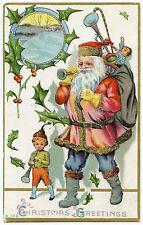 PERE NOEL.SANTA CLAUS. CHRISTMAS. ENFANT. CHILD .TROMPETTE. GAUFRé. EMBOSSED.