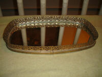 Vintage Ormolu Vanity Mirror Tray-Perfume Tray-Gold Metal-Victorian Style Tray