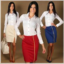 Elegante formale donna gonna con cerniera Festa lavoro TAGLIE 8 -14 FA216