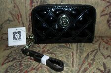 ANNE KLEIN PRESENT TIME SMALL ZIPPERED CARD CASE: BLACK W/LOBSTER CLAW KEY FOB