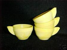 Akro Agate Child Tea Set Small Concentric Ring Yellow Cups / VHTF