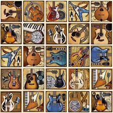 "24"" Fabric Panel - RJR Dan Morris All Amped Up Guitar Blocks Cream"
