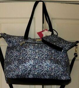 LUV Betsey Johnson Jean  Weekender Overnighter Travel Tote Bag + Wristlet