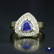 Cocktail Ring & Right Hand Ring 14K Women's 1.30 Ct Trillion Tanzanite & Diamond