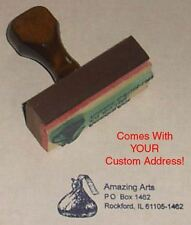 Chocolate Kiss Rubber Stamp With Your Custom Address