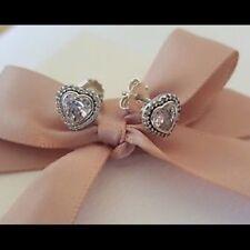 Authentic Pandora Silver S925 ALE Sparkling Love Heart Stud Earrings 290568CZ