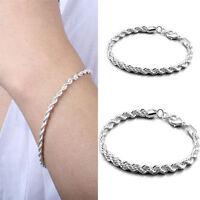 brazalete Cadena Plata Plateado Pulsera Mujer regalo de joyería