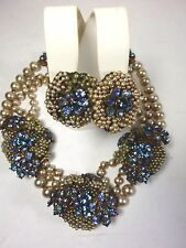 Vintage Signed Miriam Haskell Pearl & Blue Stone -  Necklace Earrings SET