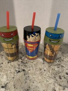 3 ZAK Ninja Turtles & Superman Insulated Tumbler Cup with Screw on Lid & Straw