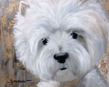 MARY SPARROW Westie West Highland Terrier Dog Art Oil Painting PRINT of Original