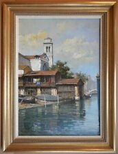 Side Canal, Venice. Original Oil by listed Italian artist Primo Re, circa 2000
