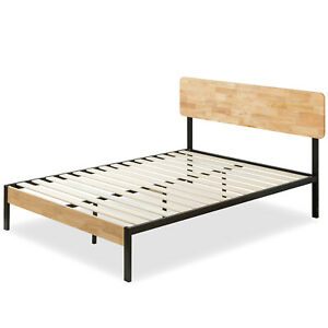 Bed with Wood Slat Support Metal & Wood (Queen size)