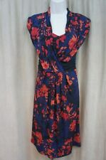 Miraclesuit Dress Sz 6 Navy Blue Multi Floral Jersey Two Piece Casual Cocktail