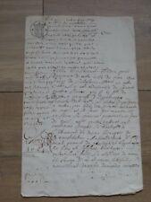 Acte manuscrit Notarié 2 Sols 1681 à identifier 19 cm sur 30 cm