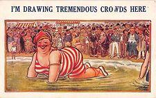 Bamforth Comic postcard Fat Lady big butt at beach I'm Drawing Tremendous Crowds