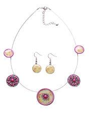 Enigmatic Fuchsia/Pink Flower Enamel Print Necklace & Earrings Set (Ns14)