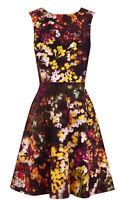 KAREN MILLEN Blossom Print Floral Fit Flare Skater Cocktail Party Dress 6 To 16