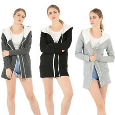 Women Ladies Winter Warm Hooded Long Zip Up Jacket Coat Hoodie Outwear Overcoat