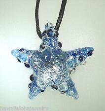 Lampwork Dichroic Color Glass Hawaiian Textured Starfish Pendant Adjustable #21