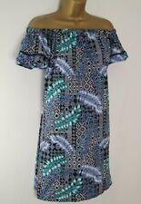 PRIMARK NAVY TROPICAL TILE BARDOT SUN DRESS SIZE 16 OFF THE SHOULDER ATMOSPHERE