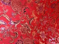 "Red Multicolor Floral Metallic Brocade Fabric 60"" Width Sold By The Yard"