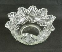 "EAPG Robinson Glass Serving Bowl #1 Vera Fagot  8"" W Clear Frilled Fluted Edge"