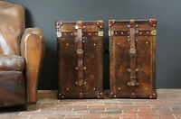 Antique English Handmade Bridle Leather Occasional Side Table Trunks