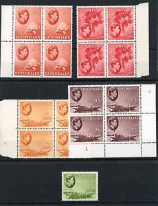 Seychelles KGVI Fourblocks x 4 MNH/MH + 1r Single MLH