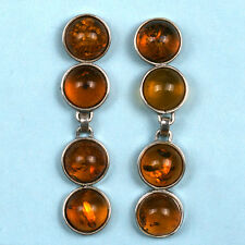 BALTIC AMBER POST EARRINGS STERLING SILVER- HAND CRAFTED  (62MM X 14MM)
