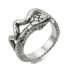 Alloy Cuff Finger Ring Snake Antique Silver Black Size 8 Adjustable 18mm P465