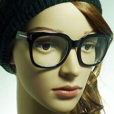 THICK Retro Nerd Large Unisex Square Frame Trendy Clear Lens Eye Glasses BLACK