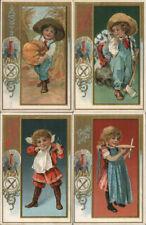 Set of 4 Children with Turkeys~Pumpkin~Knife & Forks~Thanksgiving Postcards Lot
