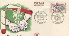 FIRST DAY COVER / PREMIER JOUR FRANCE / DONNEURS DE SANG 1959 PARIS