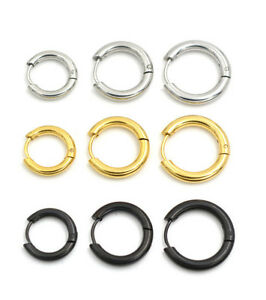 Mens Womens Silver Stainless Steel Tube Hoop Ear Ring Stud Earrings Jewelry Punk