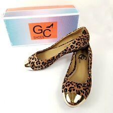 Leopard Print Ballet Flats 8 GC Shoes Rockabilly Pin Up Slip On Round Gold Toe