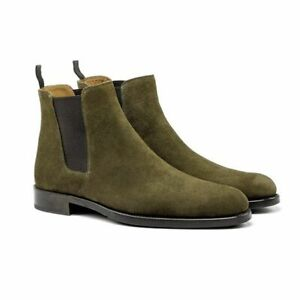 Handmade men Olive Green Suede Chelsea round toe dress boots, real suede office