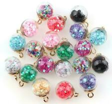 30PCs Colorful Transparent Glass Ball Star Charms FOR hair Jewelry Earring Charm