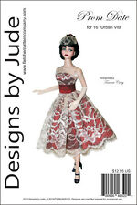 "Prom Date Doll Clothes Sewing Pattern for 16"" Urban Vita Dolls Horsman"