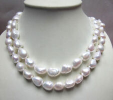 New 9-10mm White Real Natural Baroque Pearl Necklace Long 35""