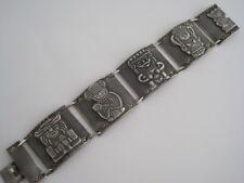 """7.25"""" Mayan Preuvian Aztec 900 Silver Wide Link Bracelet Unisex Unique 1950's"""