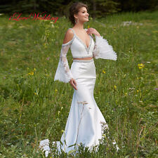 2018 White Satin Wedding Dresses Formal Two Piece Crystal Bridal Gowns Plus Size