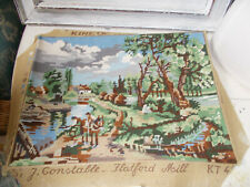 Vintage needlepoint tapestry picture landscape 'Hatford Mill' good condition