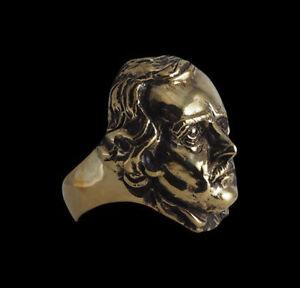 Bronze Edgar Allan Poe Ring Custom Sized American writer editor poet R-199b