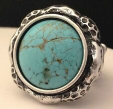 DESIGNER Stretch Ring Silver Turquoise Color Natural Stone Premier Urban Chic 6K