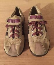 Vintage Children's Keds Sneakers Tennis Shoes Tan with Brown Stripes