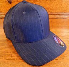 Flexfit Pinstripe Fitted Baseball Blank Ballcap Hat Cap Black S/M Small/Med NEW