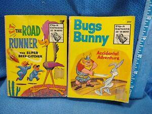 Big Little Book Cartoon Flip it Book Road Runner Bugs Bunny Vintage 70s Lot of 2