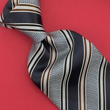 Ermenegildo Zegna Tie Black Gray Brown Stripes Necktie Luxury Silk Ties Men New