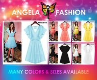 Angela New Evening Sexy Long Women Short Chiffon Maxi Dress Size M-3XL 6-20 US