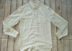 Men's Lucky Brand White Label Small Long Sleeve Button Up Shirt Beige